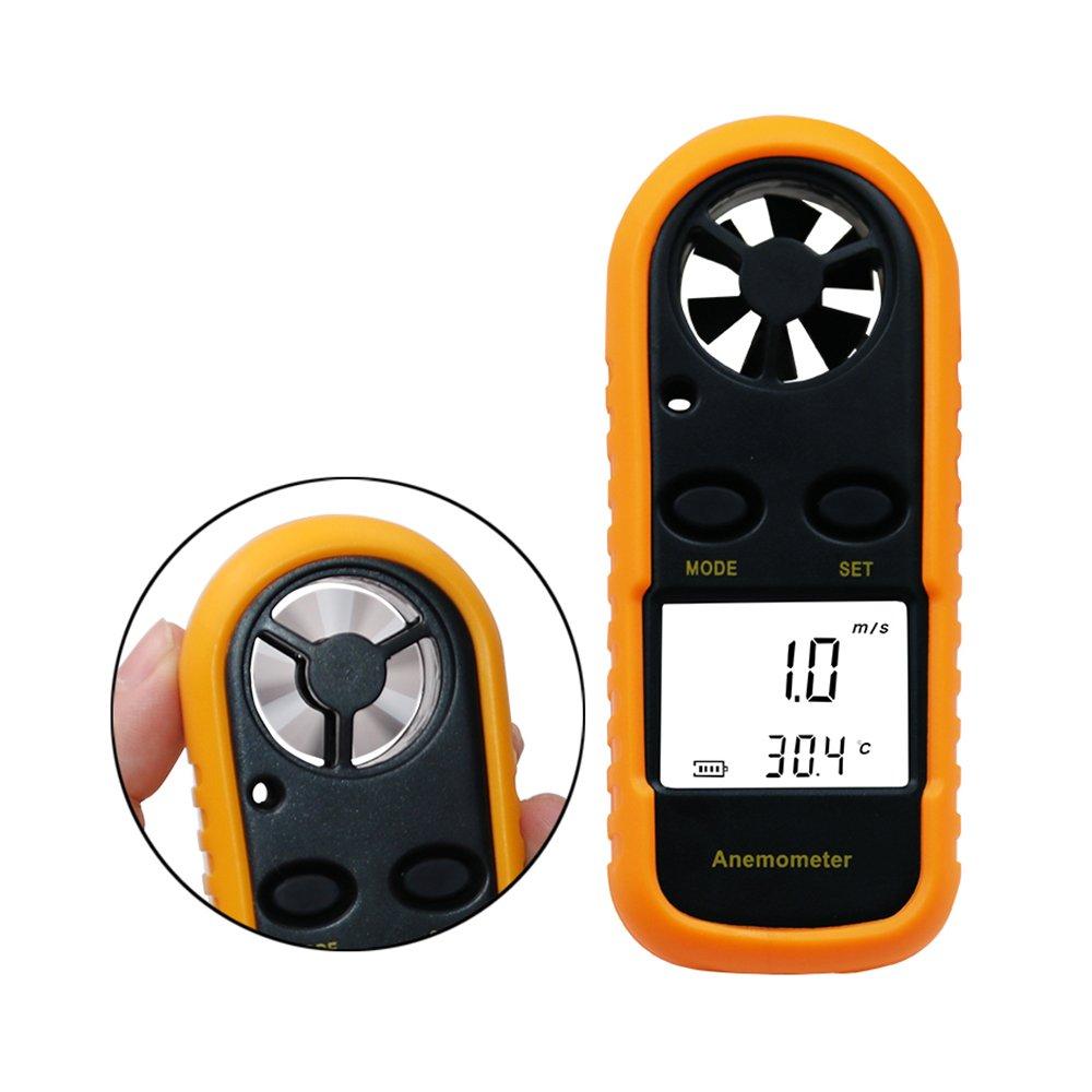 Jiusion Wind Speed Digital Anemometer LCD Handheld Wireless Hand Held Meter Gauge Air Flow Velocity Measurement Thermometer Tester for Windsurfing Kite Flying Sailing Surfing Fishing
