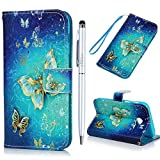 A3 2017 Case MAXFE.CO for Samsung Galaxy A3 2017 Case 3D Gold Butterfly PU Leather Case Wallet Flip Case Shockproof Cover for Samsung A3 2017 with Hand Strap Built-in Card Slots Kickstand & One Stylus Touch Pen