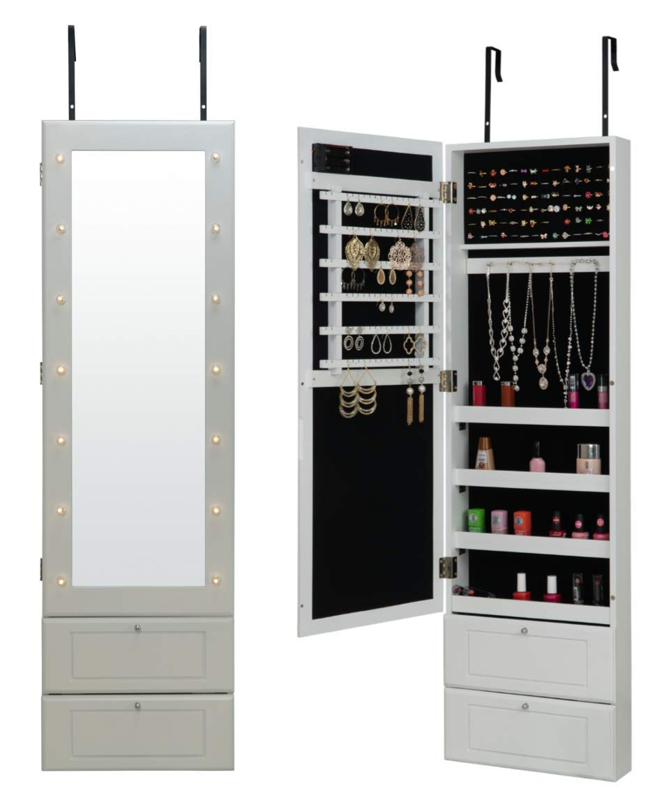 Fineboard FB-JC05-W LED Lights Jewelry Cabinet Organizer with Mirror and Two Shelves, White
