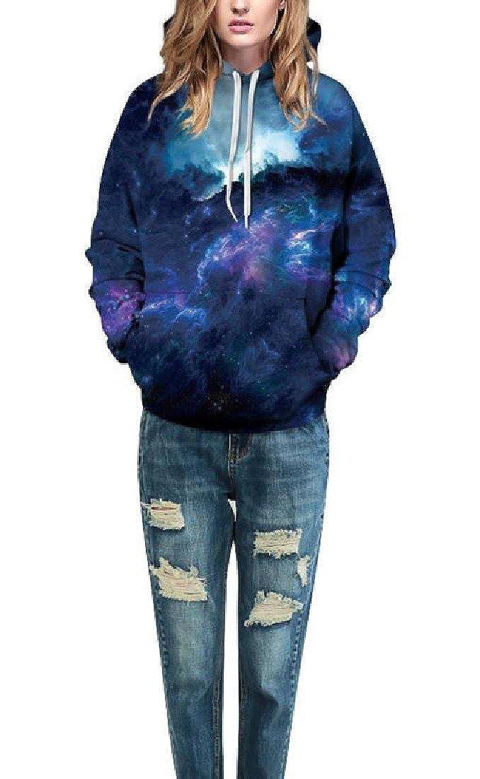 AngelSpace Womens Hood Popular Digital Printed Camouflage Unisex Top Sweatshirt