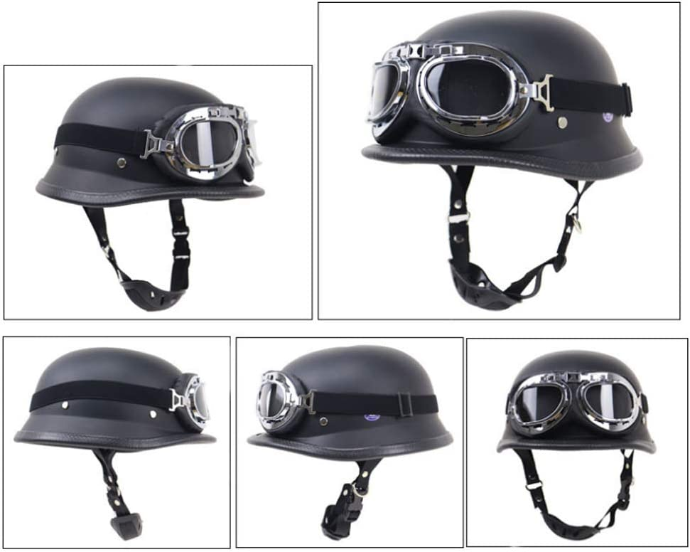 Wang/&WD BLACK German Motorcycle Half Helmet Chopper Biker Pilot Goggles NEW,Cruiser Vintage Moped Chopper Helmet