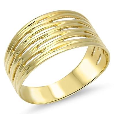 Breiter Goldring Massiv Silber 925 Gelbgold Vergoldet Damen Bandring Gr 48 65