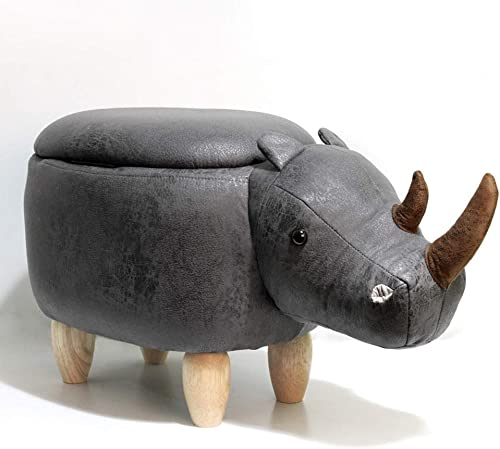 HAOSOON Animal ottoman Series Storage Ottoman Footrest Stool with Vivid Adorable Animal-Like Features Rhinoceros grey