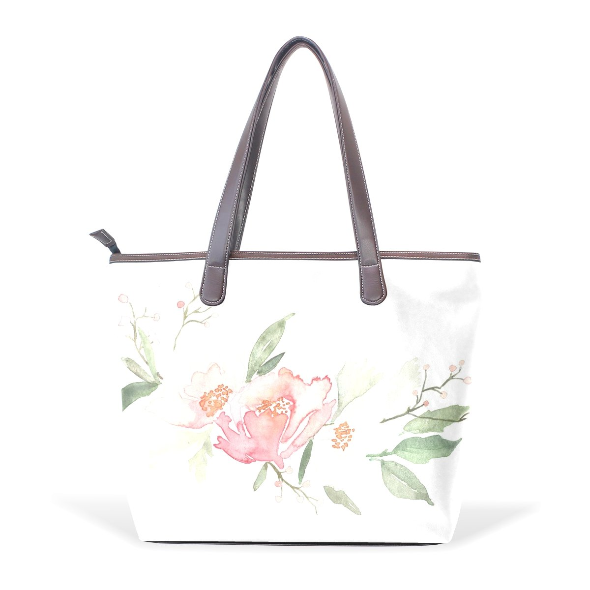SCDS Corner Floral PU Leather Lady Handbag Tote Bag Zipper Shoulder Bag