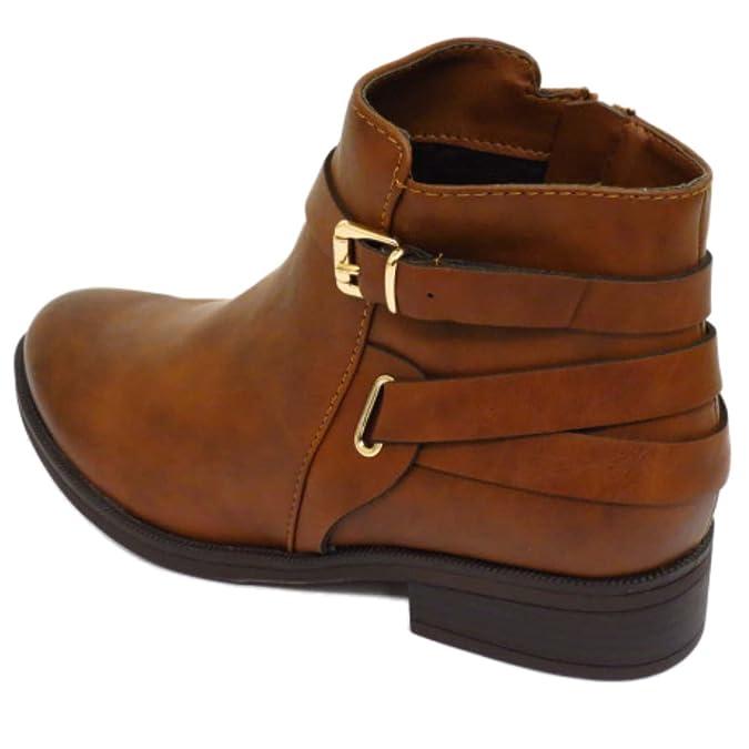 Mujer Plano Marrón Cremallera Motero Tobillo Chelsea Duende Botas Elegante Zapatos de Trabajo Tallas 3-8 - Marrón, 42 EU: Amazon.es: Zapatos y complementos