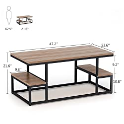 """Modern Industrial Coffee Table, LITTLE TREE 48"""" Rectangular Cocktail Table with Lower Storage Shelf for Living Room, Black Metal Frame (OAK)"""