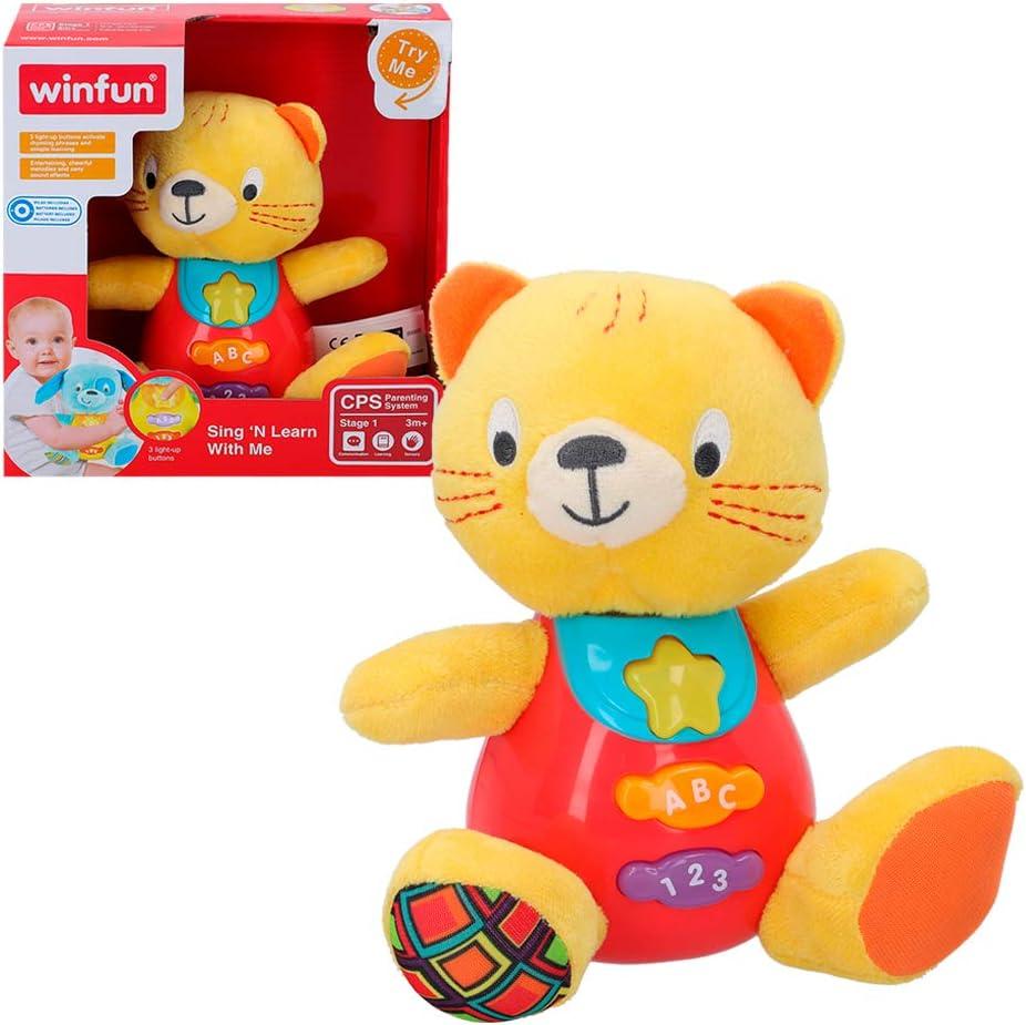 winfun - Peluche Gato para bebés que habla y luces de colores, Idioma: Español (85176)