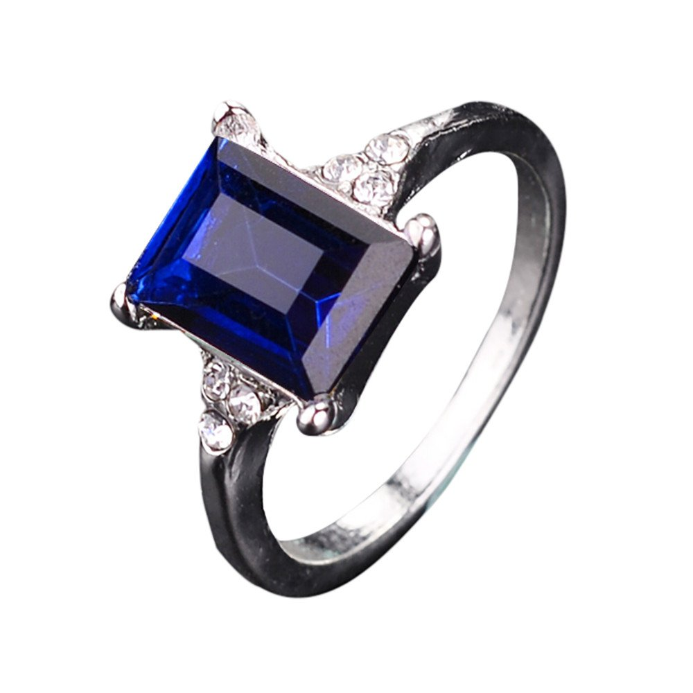 HUAMING Square Blue Crystal Ring Women Color Diamond Ring Popular Alloy Diamond Wedding Ring Gifts (Blue, 6)