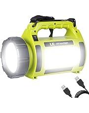 LE Lighting Ever Lampe Torche LED Rechargeable, 1000lm 5-en-1, 5 Modes 3600mAh Fonction de Batterie Externe, Lanterne LED de Camping Puissante Etanche