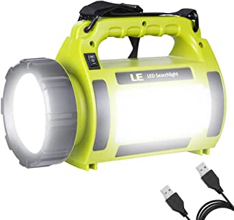 LE 1000lm Rechargeable Camping Lantern 3600mAh Power Bank Super Bright Flashlight 3 Modes Lamp Dimmable LED Spotlight 10W Outdoor Searchlight Area Light IPX4 Waterproof Torch