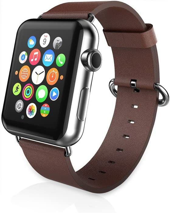 iPM PU Leather Replacement Band for 38mm Apple Watch - Brown