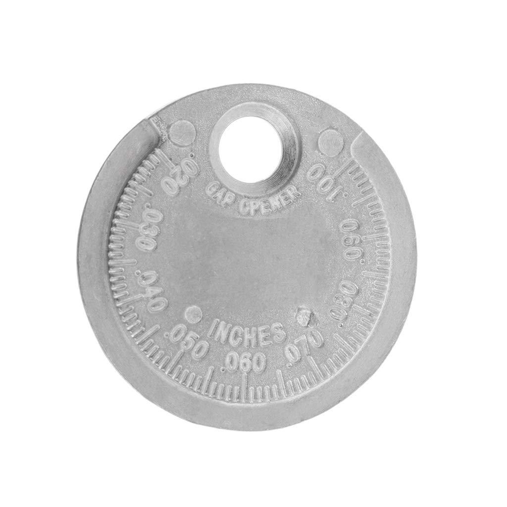 BIlinli Medidor de Espacio de la buj/ía Medici/ón de Herramienta Tipo de Moneda Rango de 0.6-2.4 mm Medidor de la Brecha del medidor de Chispa Escala f/ácil de Leer