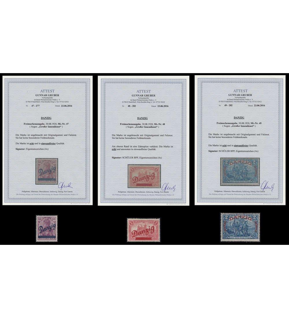 Goldhahn Danzig Nr. 47-49 ungebraucht mit Fotoattest Größer Briefmarken für Sammler