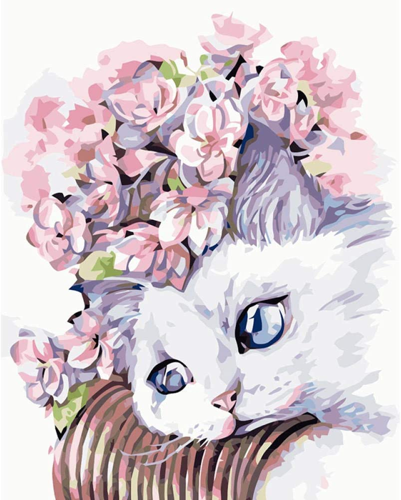 White Cat With Flower Crown Animal Diy Digital Oil Painting Wall Painting Living Room Modern Home Decoration Amazon Co Uk Diy Tools