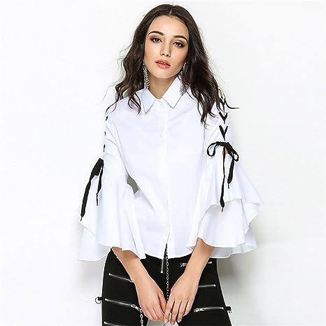 Señoras de Moda Casual Manga Larga Camisa Camisa Chaqueta Moda Hembra Puntas Sueltas,Blanco,L: Amazon.es: Deportes y aire libre