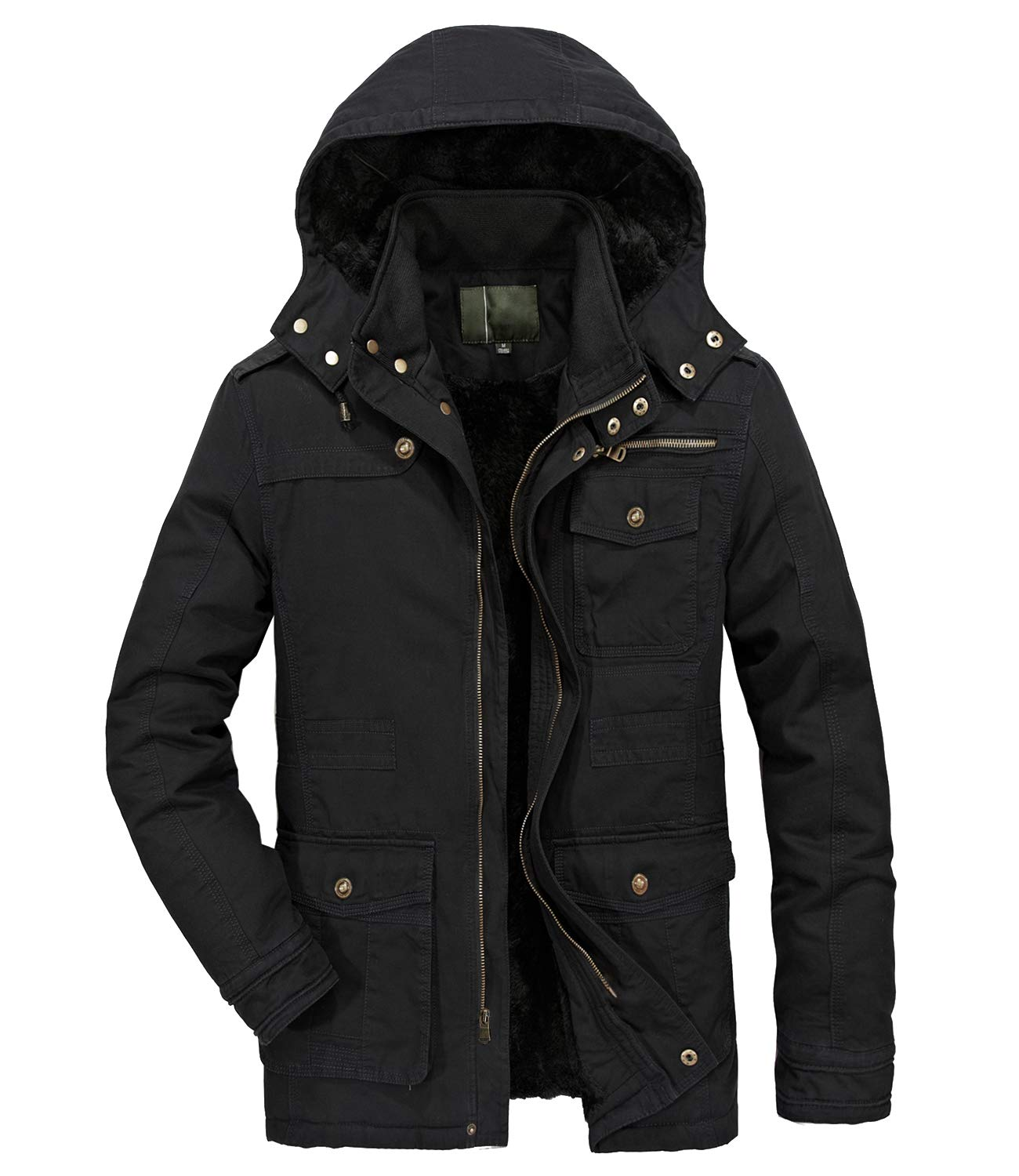 Heihuohua Men's Stand Collar Winter Thicken Military Cotton Jacket