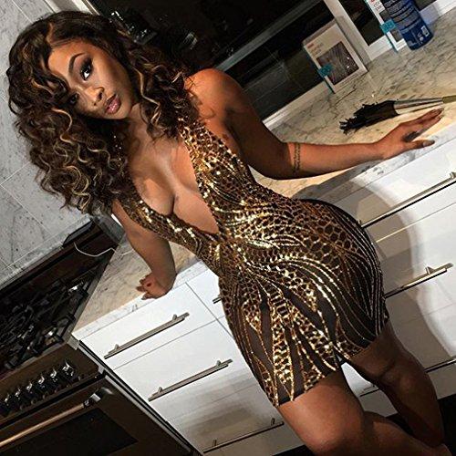 SOURBAN Women Deep-V Cocktail Bandage Bodycon Dress Bronzing Mesh Party Clubwear,Golden,L
