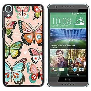 Paccase / SLIM PC / Aliminium Casa Carcasa Funda Case Cover para - Pink Hearts Love Butterflies Teal - HTC Desire 820