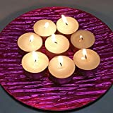 Glass Plate and 1 pack Votive candle Bundle 2 items Decorative Pink Glass Plate, 1 pack 6 votive candles