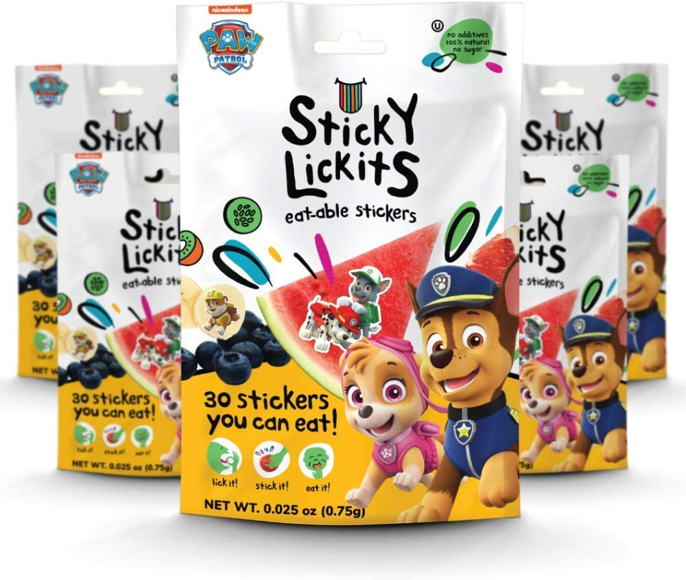 5-Pack Edible Stickers No Sugar Spongebob Sticky Lickits All-Natural