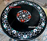 36'' Black Marble Round Meeting Table Top Inlay Mother of Pearl Stones & Floral Art