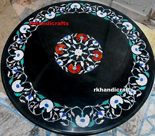 36'' Black Marble Round Meeting Table Top Inlay Mother of Pearl Stones & Floral Art by rkhandicrafts