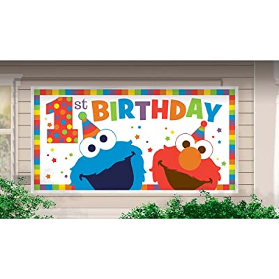 SESAME STREET Elmo Turns One JUMBO PLASTIC BANNER ~ Birthday Party Supplies: Toys & Games