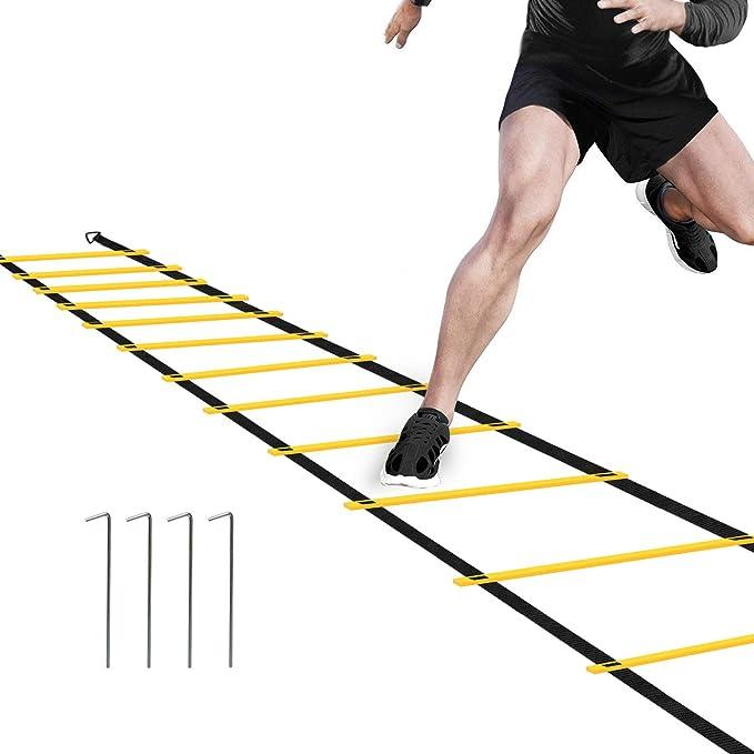 Ancees Escalera de Entrenamiento, 7M 13 Peldaños Escalera Deportiva para Mejorar Agilidad Velocidad Coordinación: Amazon.es: Deportes y aire libre