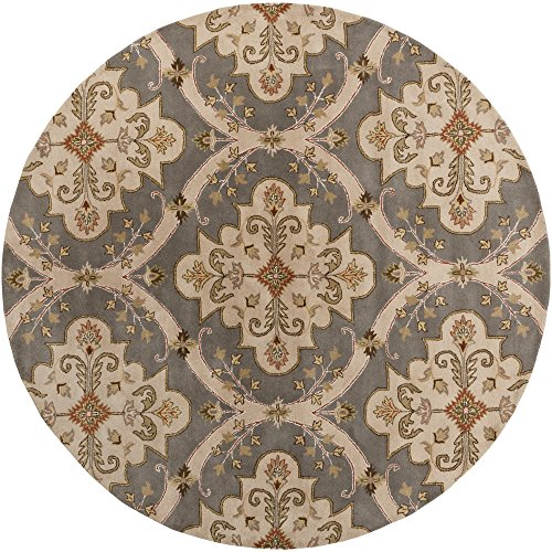 Price comparison product image Surya Crowne CRN-6026 Classic Hand Tufted 100% Wool Gray 8' Round Paisleys and Damasks Area Rug