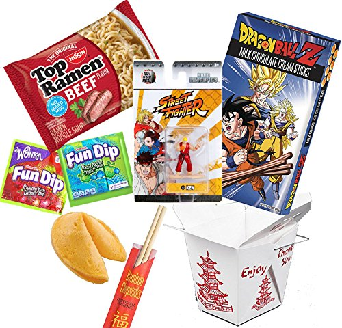 Asian Street Fighter Blast Ken Mini Figure - Dragonball Z Chocolate Sticks / Top Ramen Beef Noodles / Fun Magic Dip Candy / Fortune Cookie / Chop Sticks & Snack Container