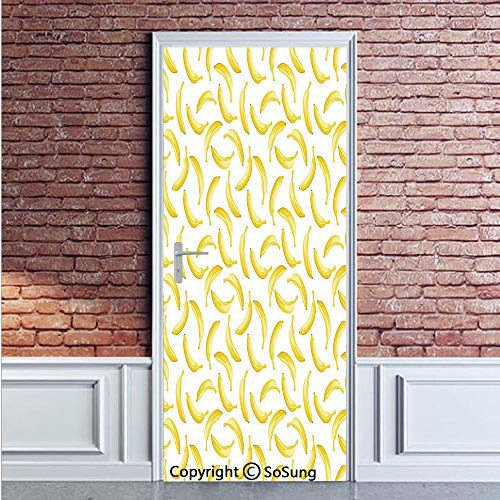 Yellow and White Door Wall Mural Wallpaper Stickers,Cartoon Style Bananas Pattern Exotic Fresh Ripe Fruit Healthy Tropical Decorative,Vinyl Removable 3D Decals 35.4x78.7/2 Pieces set,for Home Decor Ye ()