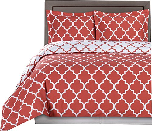 Coral and White Meridian 4pc King / Cal-King Comforter Set 100 % Cotton 300 Thread Count by Royal Hotel