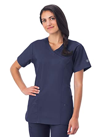 6a901c5b92a Amazon.com: Fundamentals 14371 Women's Modern Wrap 5-Pocket Scrub ...