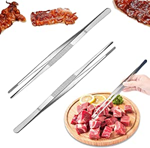 2 PCS 12 Inch Stainless Steel Tweezer Tongs,Fine Tweezer Food Tongs,Long tweezer with Precision Serrated Tips for Cooking,BBQ,Plants