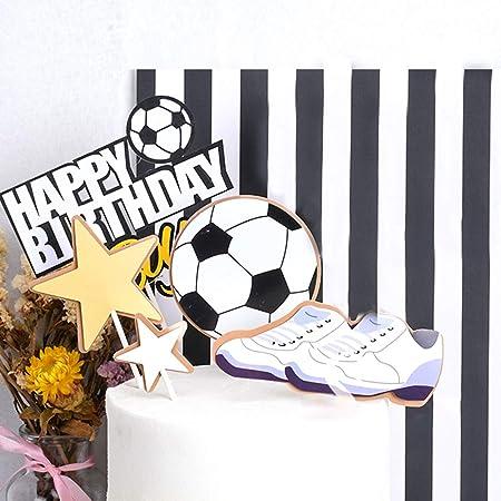 YGSAT 1 juego de decoración para tartas de fútbol con texto