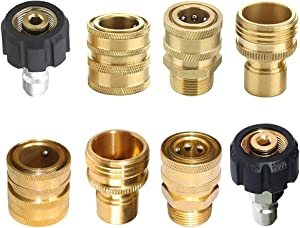 """8pcs Pressure Washer Adapter Kit,Garden Hose Quick Connect Fittings,M22 Swivel to 3/8'' Quick Connect, 3/4"""" to Quick Release"""