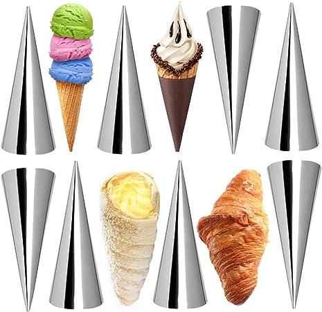 12 coni da forno in acciaio inox fai da te per pasticceria tubi grandi dimensioni stampini a spirale corno conici corno crema