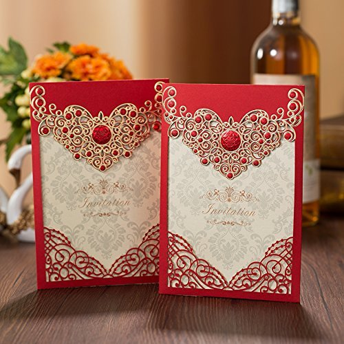 Red Pocket Invitation - PONATIA 25PCS Laser Cut Invitations Cards Luxury Diamond Gloss Design Wedding Bridal Shower Invitation Baby Shower Engagement Birthday Invitation Graduation (Red)