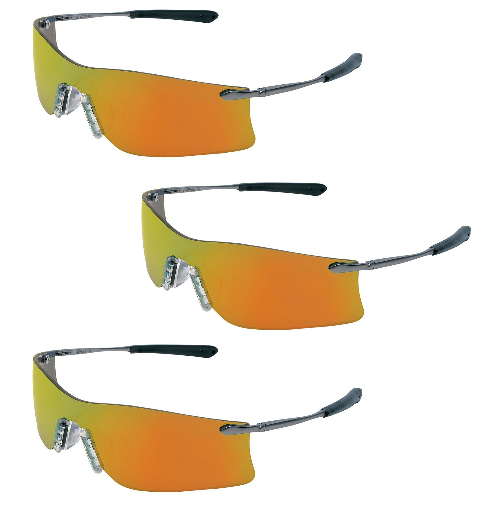 (3 Pair) MCR Safety Glasses Fire Mirror Lens Rubicon T411R