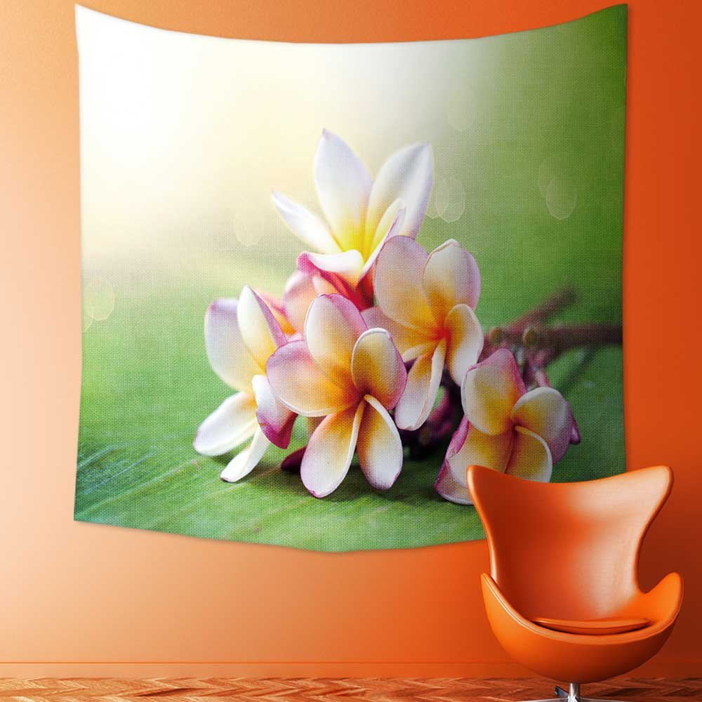 AmaPark Custom Tapestry Wall Tapestry Wall Hanging Tapestries Frangipani Tropical Spa Flower Plumeria Shallow DOF of Tapestry Wall Blanket Wall Decor Wall Art Home Decor 92.5 x L70.9 inches