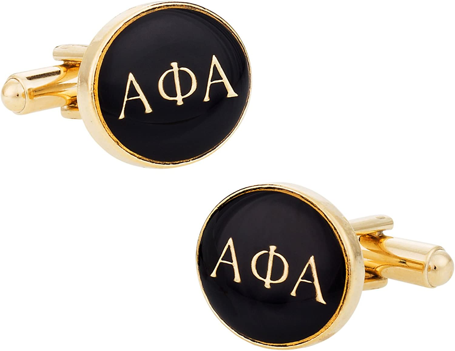 Cuff-Daddy Alpha Phi Alpha Black Gold Cuff Links - One Pair with Presentation Gift Box