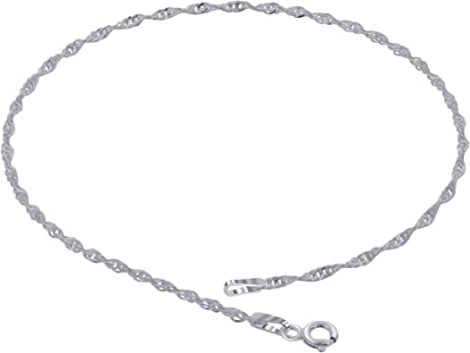 Sterling Silver Polished Solid 1.5mm Box Chain Bracelet Anklet With Lobster Clasp Length 7 Inch