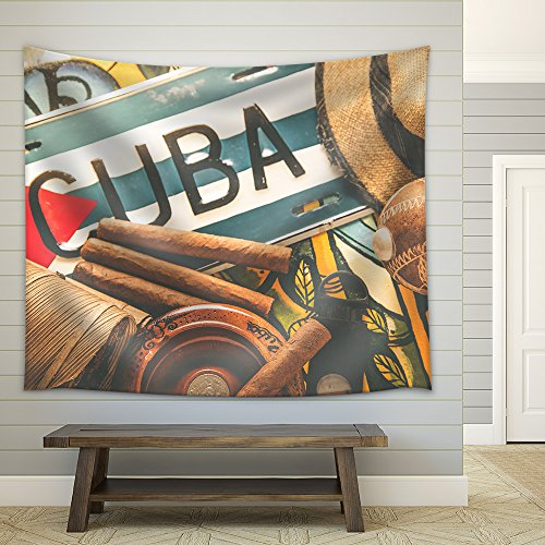 Vintage Processed Photo Travel to Cuba Concept Background Fabric Wall