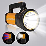 GEPROSMA High 6000 Lumen Powerful Rechargeable Flashlight Handheld Spotlight CREE LED Super Bright Large 4 Batteries 10000mah