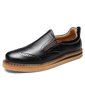 Shenn Men Slip On Formal Dress Wingtip Brogue Leather Oxfords Shoes 1688(black,us6.5)