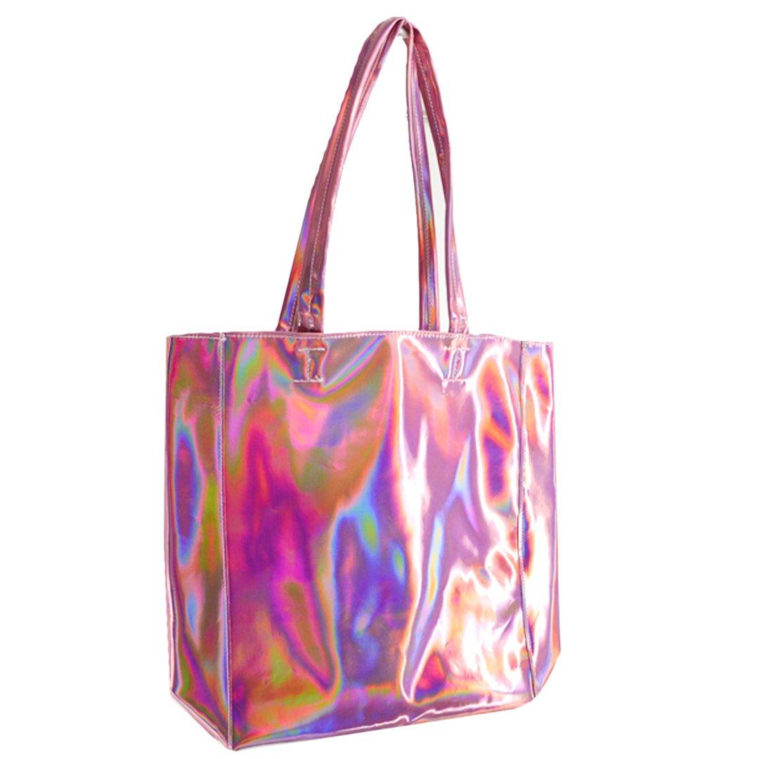 37ff61f9b5 Amazon.com  Mily Hologram Tote Bag Laser PU Shoulder Bag for Women -Lightweight