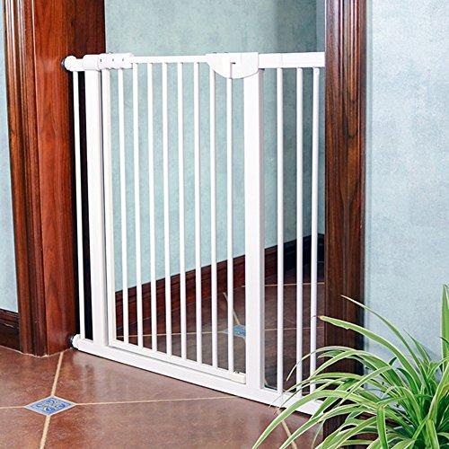 Extra Wide Pet Gates For Stairs Doorway Indoor, Pressure Mounted, Baby/Dog/Cat Door 71-180cm Wide White Metal (Size : 125-131 cm)