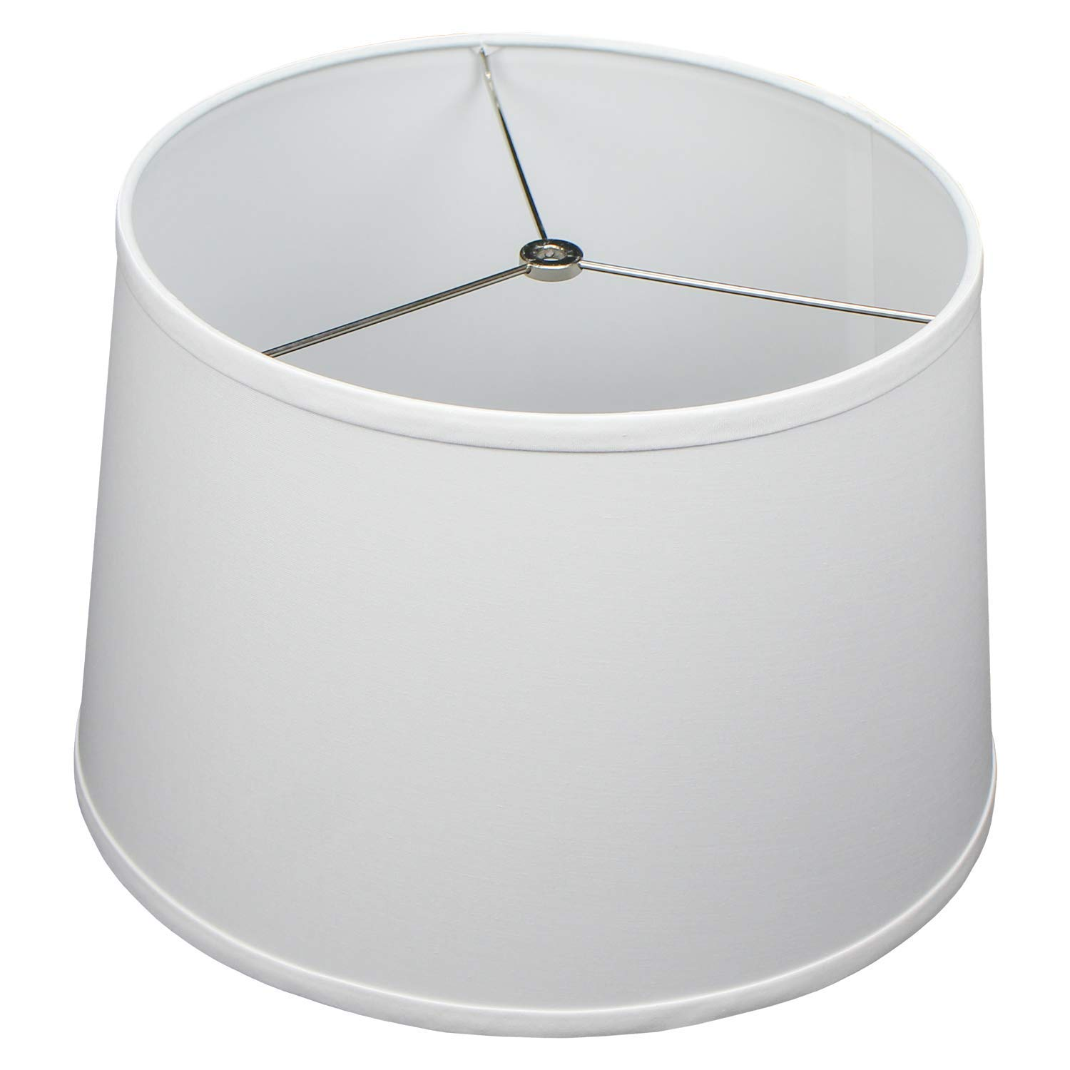 FenchelShades.com 13'' Top Diameter x 15'' Bottom Diameter x 10'' Height Fabric Drum Lampshade Spider Attachment (White)