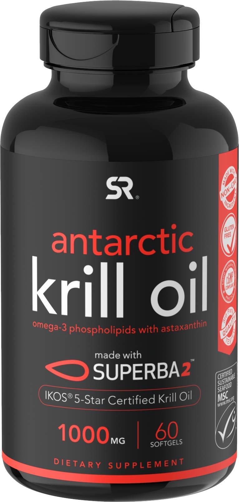 Antarctic Krill Oil (1000mg) with Omega-3s EPA & DHA + Astaxanthin | IKOS 5-Star Certified & Non-GMO Verified (60 Softgels)