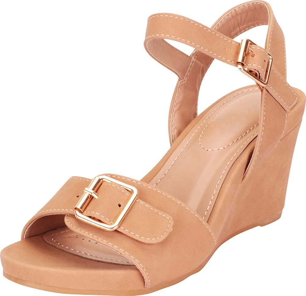 Tan Pu Cambridge Select Women's Oversized Buckle Slingback Platform Mid Wedge Sandal